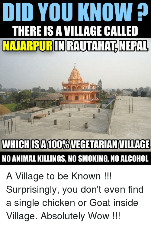 Animals, Anime, and Smoking: DID YOU KNOW?  THERE ISAVILLAGE CALLED  NANARPURINRAUTAHATNEPAL,  WHICH IS A 100%VEGETARIAN VILLAGE  NO ANIMAL KILLINGS, NO SMOKING, NO ALCOHOL A Village to be Known !!! Surprisingly, you don't even find a single chicken or Goat inside Village. Absolutely Wow !!!