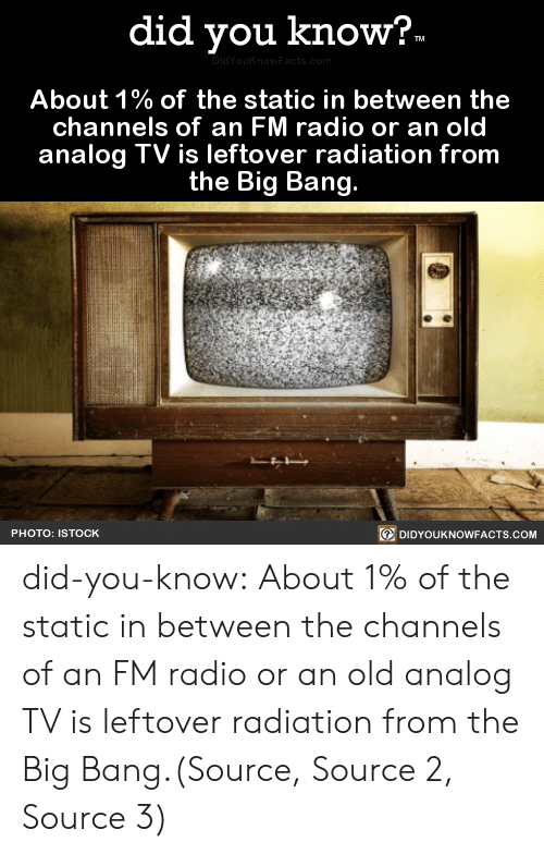 Gif, Nasa, and Radio: did you know?  TM  DidYouKnowFacts.com  About 1% of the static in between the  channels of an FM radio or an old  analog TV is leftover radiation from  the Big Bang.  DIDYOUKNOWFACTS.COM  PHOTO: ISTOCK did-you-know:  About 1% of the static in between the channels of an FM radio or an old analog TV is leftover radiation from the Big Bang.(Source, Source 2, Source 3)