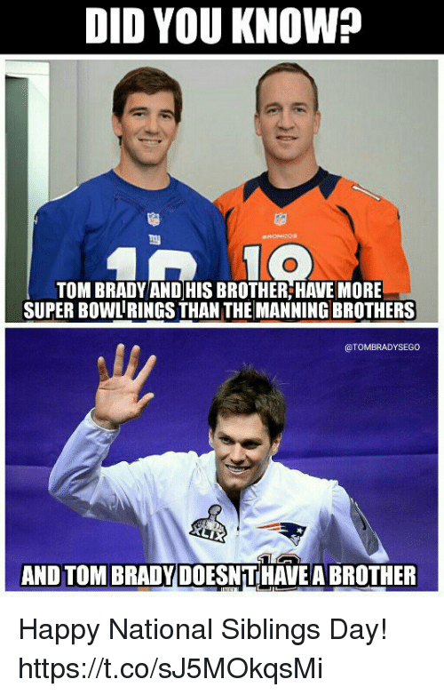 Memes, Super Bowl, and Tom Brady: DID YOU KNOW?  TOM BRADY AND HIS BROTHER,HAVE MORE  SUPER BOWL RINGS THAN THE MANNING BROTHERS  @TOMBRADYSEGO  AND TOM BRADY DOESNTHAVE A BROTHER Happy National Siblings Day! https://t.co/sJ5MOkqsMi