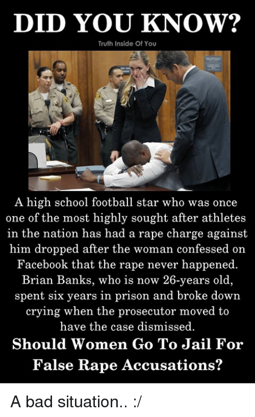 Bad, Crying, and Facebook: DID YOU KNOW?  Truth Inside Of You  A high school football star who was once  one of the most highly sought after athletes  in the nation has had a rape charge against  him dropped after the woman confessed on  Facebook that the rape never happened.  Brian Banks, who is now 26-years old,  spent six years in prison and broke down  crying when the prosecutor moved to  have the case dismissed.  Should Women Go To Jail For  False Rape Accusations? A bad situation.. :/
