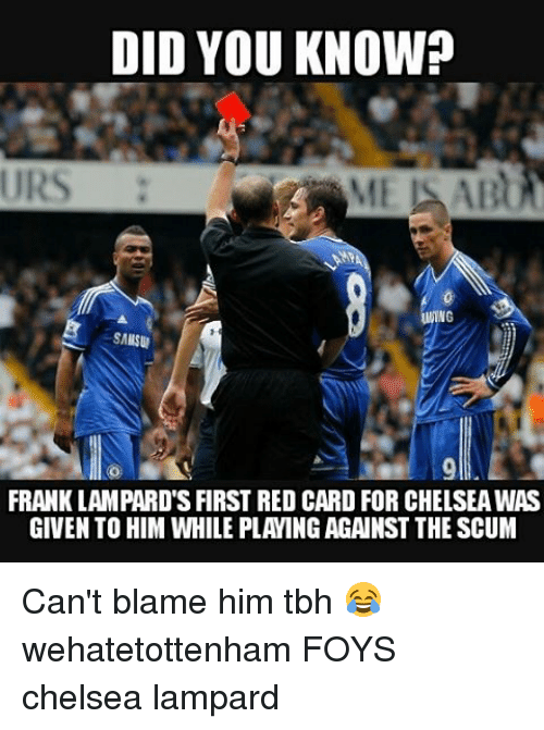 DID YOU KNOW? URS WING FRANK LAMPARD'S FIRST RED CARD FOR