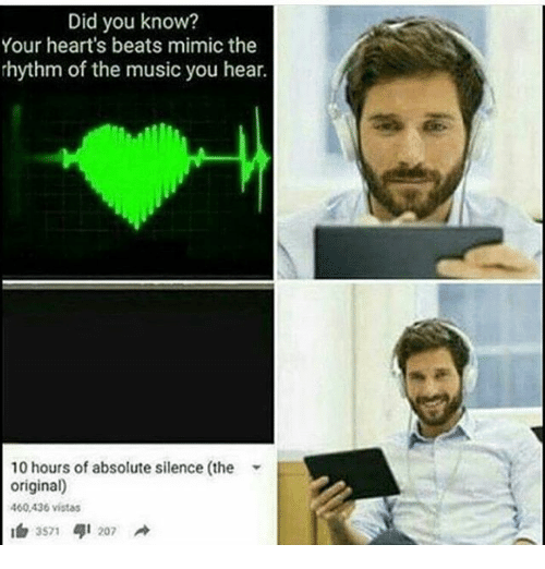 Memes, Music, and Beats: Did you know?  Your heart's beats mimic the  rhythm of the music you hear.  10 hours of absolute silence (the  original)  460,436 vistas  3S71  41 207