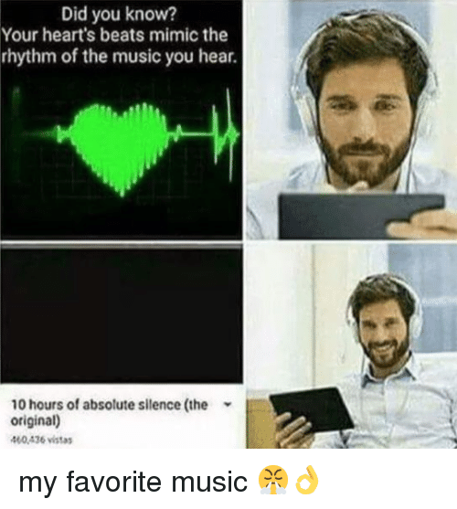 Music, Beats, and Hearts: Did you know?  Your heart's beats mimic the  rhythm of the music you hear.  10 hours of absolute silence (the  original)  400436 vistas my favorite music 😤👌