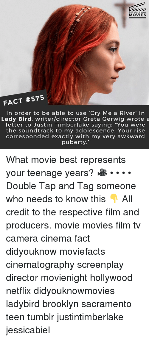 "Justin TImberlake, Memes, and Movies: DID YOU KNOWw  MOVIES  FACT #575  In order to be able to use 'Cry Me a River' in  Lady Bird, writer/director Greta Gerwig wrote a  letter to Justin Timberlake saying; You weree  the soundtrack to my adolescence. Your rise  corresponded exactly with my very awkward  puberty."" What movie best represents your teenage years? 🎥 • • • • Double Tap and Tag someone who needs to know this 👇 All credit to the respective film and producers. movie movies film tv camera cinema fact didyouknow moviefacts cinematography screenplay director movienight hollywood netflix didyouknowmovies ladybird brooklyn sacramento teen tumblr justintimberlake jessicabiel"
