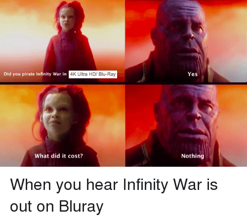 Did You Pirate Infinity War in 4K Ultra HD Blu-Ray Yes What Did It