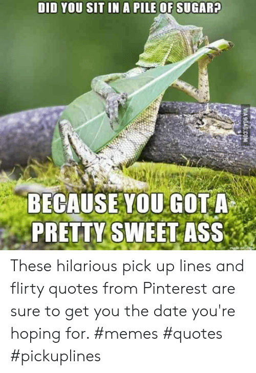 Ass, Memes, and Pinterest: DID YOU SIT IN A PILE OF SUGARA  BECAUSE YOU GOT A  PRETTY SWEET ASS These hilarious pick up lines and flirty quotes from Pinterest are sure to get you the date you're hoping for. #memes #quotes #pickuplines