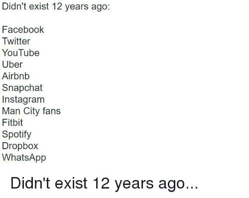 Didn't Exist 12 Years Ago Facebook Twitter YouTube Uber