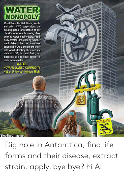 Life, Reddit, and Antarctica: Dig hole in Antarctica, find life forms and their disease, extract strain, apply. bye bye? hi AI