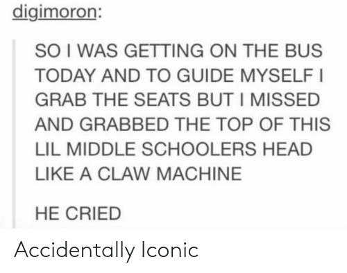 Head, Today, and Iconic: digimoron:  SO I WAS GETTING ON THE BUS  TODAY AND TO GUIDE MYSELFI  GRAB THE SEATS BUT I MISSED  AND GRABBED THE TOP OF THIS  LIL MIDDLE SCHOOLERS HEAD  LIKE A CLAW MACHINE  HE CRIED Accidentally Iconic