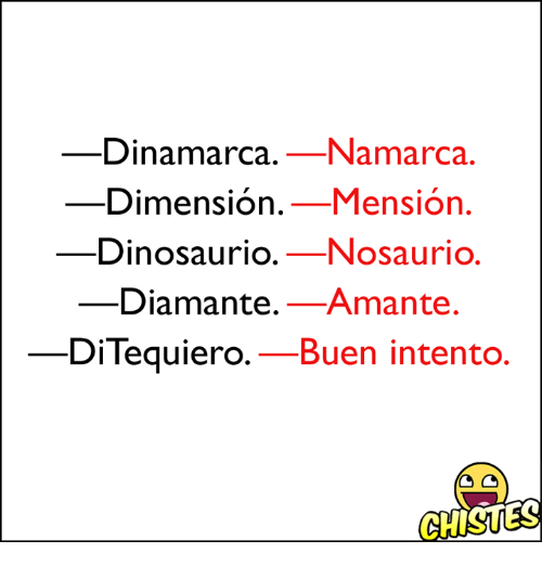 Sion, Men, and Dinosaurio: Dinamarca. Namarca.  Dimension  Men sion  Dinosaurio.  Nosaurio.  Diamante.  Amante  DiTequiero.  Buen intento.  GHISUES