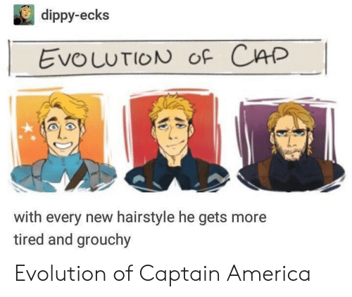 America, Evolution, and Cap: dippy-ecks  EvouuTION oF CAP  with every new hairstyle he gets more  tired and grouchy Evolution of Captain America