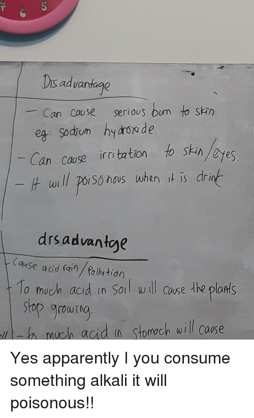 Apparently, Engrish, and Yes: Dis advantage  - Can cause serious oum to shn  Can cause irrittion o sk-in  t will poisó hous when is dr  drsadvanteye  Case acd (ain/ felkstion  1o much acid in Soil wll Cause the plaats  stop grourto  th much agid in stomoch will case