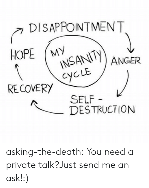 Tumblr, Blog, and Death: DISAPPOINTMENT  INSANITy  CYCLE  RE COVERY  SELF  DESTRUCTION asking-the-death:    You need a private talk?Just send me an ask!:)