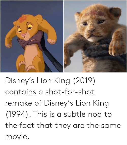 Disneys Lion King 2019 Contains A Shot For Shot Remake Of