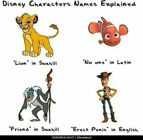 """Disney, Lion, and Penis: Disney Characters Names  Explained  Lion n Swahili  """"No one"""" in Latin  """"Friend in Swahili  reet Penis in Enlish  B3RS3RKIN B3AST   Memedroid"""