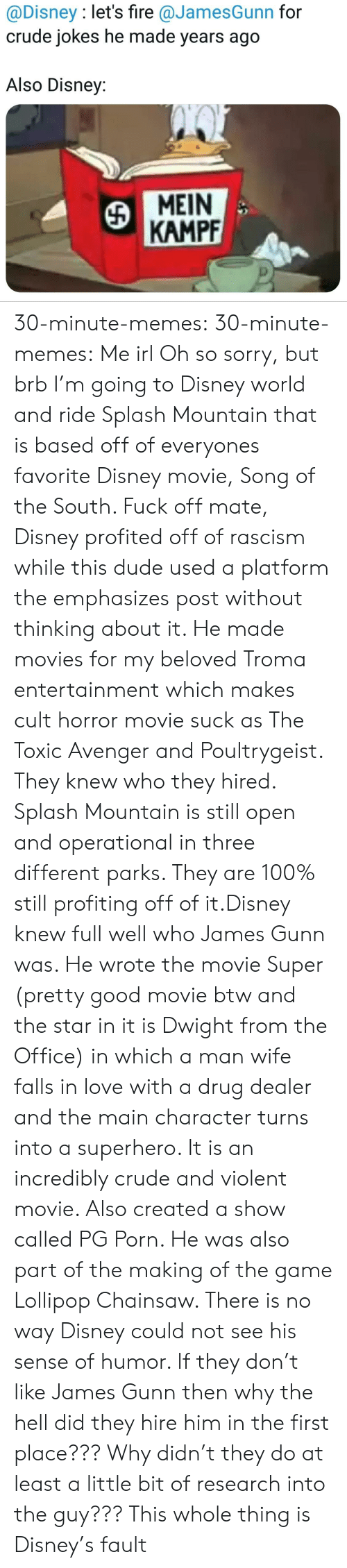 Anaconda, Disney, and Disney World: @Disney : let's fire @JamesGunn for  crude jokes he made years ago  Also Disney:  MEIN  KAMPF 30-minute-memes: 30-minute-memes: Me irl Oh so sorry, but brb I'm going to Disney world and ride Splash Mountain that is based off of everyones favorite Disney movie, Song of the South.  Fuck off mate, Disney profited off of rascism while this dude used a platform the emphasizes post without thinking about it. He made movies for my beloved Troma entertainment which makes cult horror movie suck as The Toxic Avenger and Poultrygeist. They knew who they hired.  Splash Mountain is still open and operational in three different parks. They are 100% still profiting off of it.Disney knew full well who James Gunn was. He wrote the movie Super (pretty good movie btw and the star in it is Dwight from the Office) in which a man wife falls in love with a drug dealer and the main character turns into a superhero. It is an incredibly crude and violent movie. Also created a show called PG Porn. He was also part of the making of the game Lollipop Chainsaw. There is no way Disney could not see his sense of humor. If they don't like James Gunn then why the hell did they hire him in the first place??? Why didn't they do at least a little bit of research into the guy??? This whole thing is Disney's fault