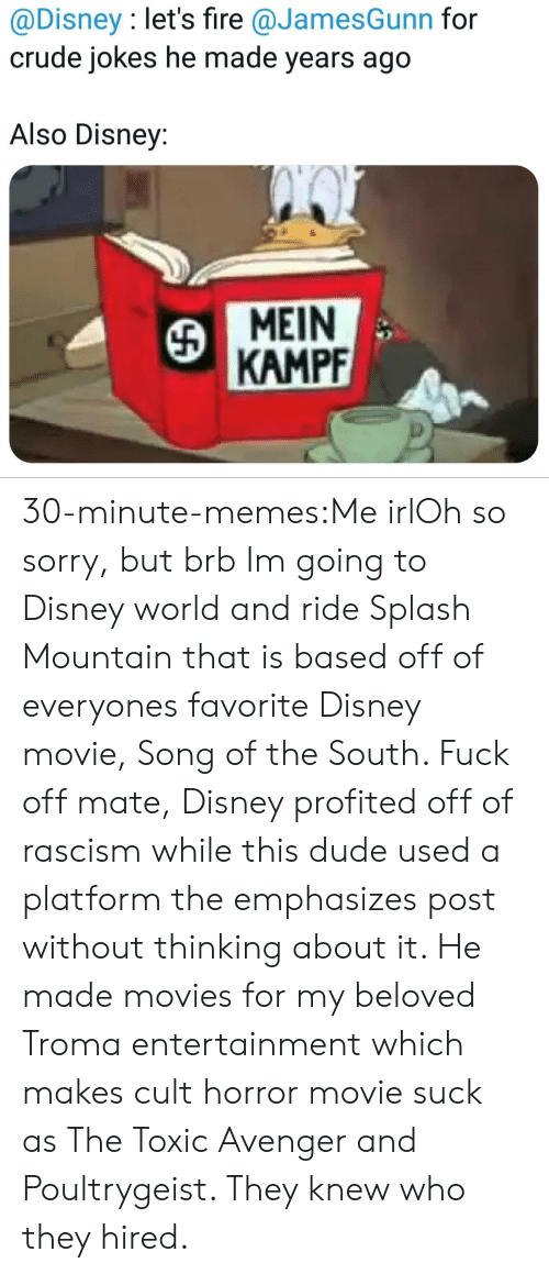 Disney, Disney World, and Dude: @Disney : let's fire @JamesGunn for  crude jokes he made years ago  Also Disney:  MEIN  KAMPF 30-minute-memes:Me irlOh so sorry, but brb Im going to Disney world and ride Splash Mountain that is based off of everyones favorite Disney movie, Song of the South. Fuck off mate, Disney profited off of rascism while this dude used a platform the emphasizes post without thinking about it. He made movies for my beloved Troma entertainment which makes cult horror movie suck as The Toxic Avenger and Poultrygeist. They knew who they hired.