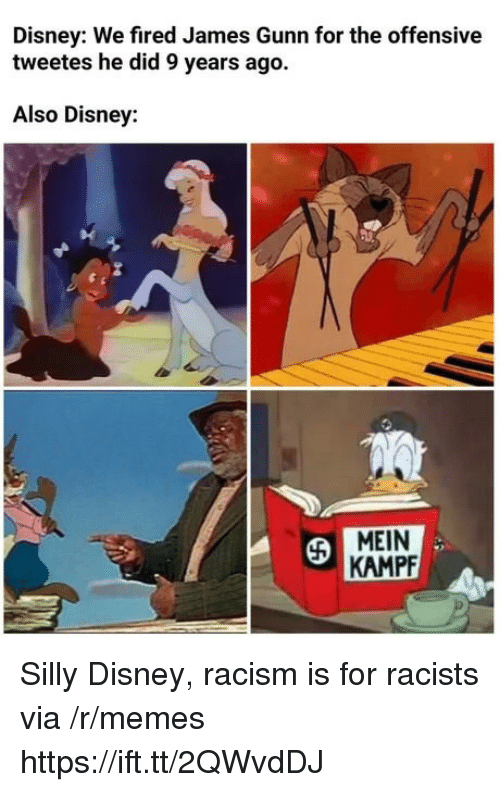 Disney, Memes, and Racism: Disney: We fired James Gunn for the offensive  tweetes he did 9 years ago.  Also Disney:  MEIN  KAMPF Silly Disney, racism is for racists via /r/memes https://ift.tt/2QWvdDJ