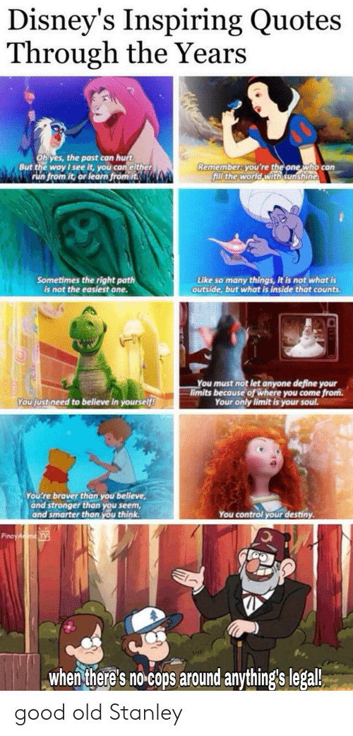 Destiny, Run, and Control: Disney's Inspiring Quotes  Through the Years  Ohyes, the past can hurt  But the way see it, you can either  run from it, or learn from it  Rememberayou're the one who can  fill the world with sunshine  Sometimes the right path  is not the easiest one.  Like so many things, it is not what is  outside,but what is inside that counts  You must not let anyone define your  limits because of where you come from.  Your only limit is your soul.  You fust need to believe in yourself!  You're braver than you believe  and stronger than you seem  and smarter than you think  You control your destiny  Pinay AmeTy  When there's no cops around anything's legal good old Stanley