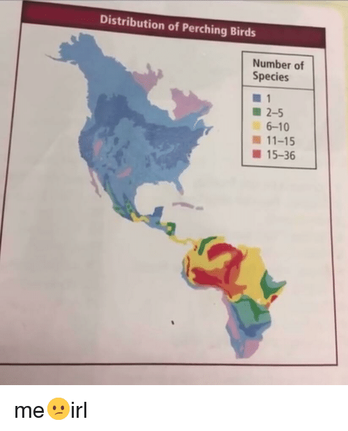 Distribution of Perching Birds Number of Species 2-5 6-10 11