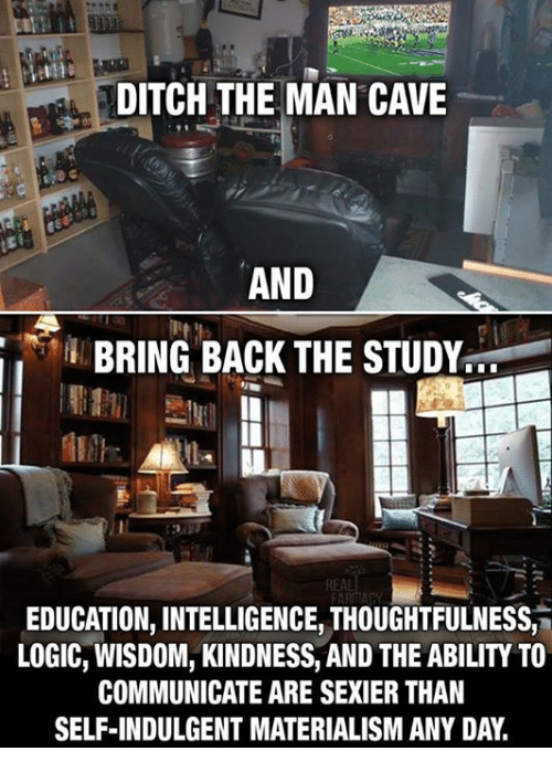 Logic, Ability, and Kindness: DITCH THE MAN CAVE  AND  BRING BACK THE STUDY  REAL  EDUCATION, INTELLIGENCE, THOUGHTFULNESS,  LOGIC, WISDOM, KINDNESS, AND THE ABILITY TO  COMMUNICATE ARE SEXIER THAN  SELF-INDULGENT MATERIALISM ANY DAY.
