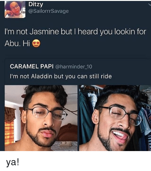 Aladdin, Memes, and 🤖: Ditzy  @SailorrrSavage  I'm not Jasmine but I heard you lookin for  Abu. Hi  CARAMEL PAPI @harminder 10  I'm not Aladdin but you can still ride ya!