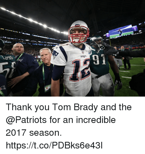 Memes, Patriotic, and Tom Brady: dium Thank you Tom Brady and the @Patriots for an incredible 2017 season. https://t.co/PDBks6e43l