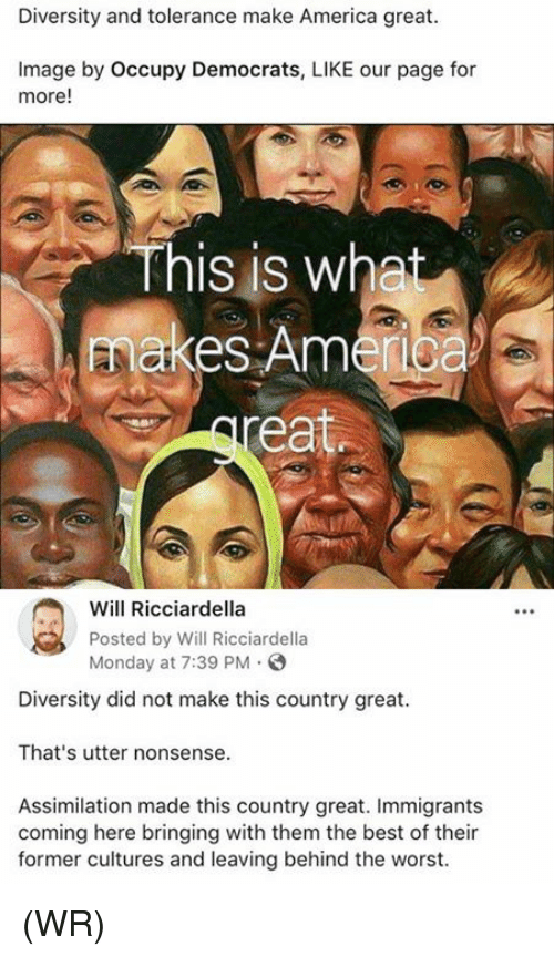 America, Memes, and The Worst: Diversity and tolerance make America great.  Image by Occupy Democrats, LIKE our page for  more!  This is what  makes Ame  ea  Will Ricciardella  Posted by Will Ricciardella  Monday at 7:39 PM.  Diversity did not make this country great.  That's utter nonsense.  Assimilation made this country great. Immigrants  coming here bringing with them the best of their  former cultures and leaving behind the worst. (WR)