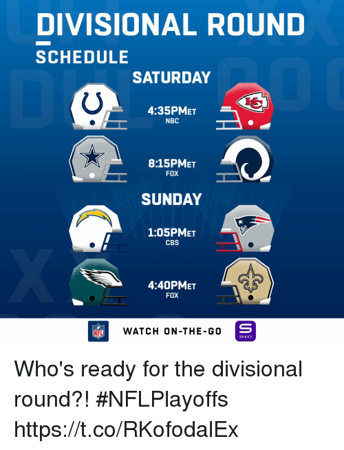 Memes, Cbs, and Schedule: DIVISIONAL ROUND  SCHEDULE  SATURDAY  4:35PMET  NBC  8:15PMET  FOX  SUNDAY  1:05PMET  CBS  4:40PMET  FOX  NFLWATCH ON -THE-GO  YAHOO! Who's ready for the divisional round?! #NFLPlayoffs https://t.co/RKofodalEx