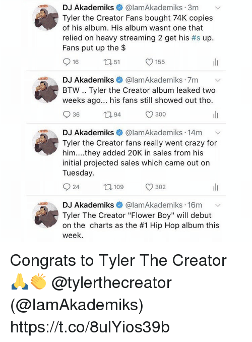 """Crazy, Memes, and Tyler the Creator: DJ Akademiks + @lamAkademiks-3m  Tyler the Creator Fans bought 74K copies  of his album. His album wasnt one that  relied on heavy streaming 2 get his #s up  Fans put up the $  .  、v  16  ロ51  O 155  DJ Akademiks  BTW .. Tyler the Creator album leaked two  weeks ago... his fans still showed out tho.  @lamAkademiks-7m  .  v  36  ロ94  300  DJ Akademiks  @lamAkademiks 14m  Tyler the Creator fans really went crazy for  him.... they added 20K in sales from his  initial projected sales which came out on  Tuesday.  24  109  302  DJ Akademiks + @lamAkademiks-16m  Tyler The Creator """"Flower Boy"""" will debut  on the charts as the #1 Hip Hop album this  week  .  ﹀ Congrats to Tyler The Creator 🙏👏 @tylerthecreator (@IamAkademiks) https://t.co/8ulYios39b"""