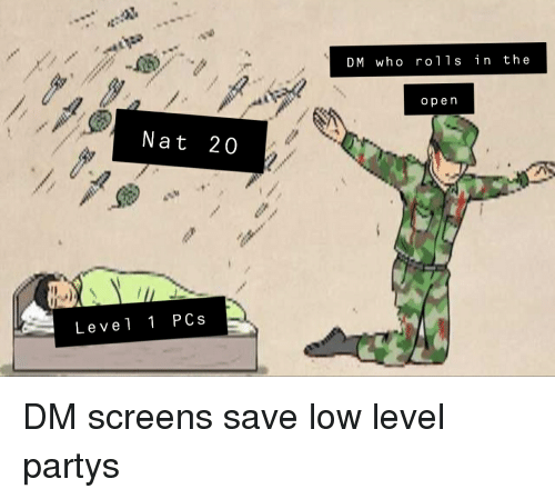 DM Who Ro11s in the Op en Nat 20 Level 1 PCs DM Screens Save