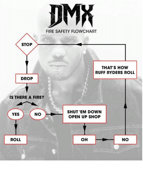 DMA FIRE SAFETY FLOWCHART STOP THATS HOW RUFF RYDERS ROLL