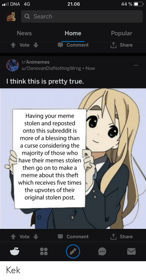 Anime, Meme, and Memes: DNA 4G  21.06  44 %  Q Search  News  Home  Popular  Vote  Comment  T, Share  r/Animemes  u/DonovanDidNothngWrng Now  I think this is pretty true.  Having your meme  stolen and reposted  onto this subreddit is  more of a blessing than  a curse considering the  majority of those who  have their memes stolen  then go on to make a  meme about this theft  which receives five times  the upvotes of their  original stolen post.  Vote  Comment  , Share Kek