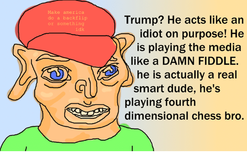 Dank, Dude, and Chess: do a backflip  or something  idk  Trump? He acts like an  idiot on purpose! He  M is playing the media  like a DAMN FIDDLE.  he is actually a real  smart dude, he's  playing fourth  dimensional Chess oro.