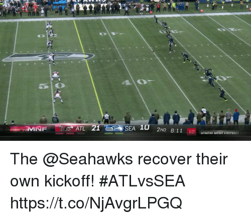 Memes, Seahawks, and 🤖: DO  ATL 21  SEA 10  8:11 10 unNnAv MITIT ENTTBA The @Seahawks recover their own kickoff! #ATLvsSEA https://t.co/NjAvgrLPGQ