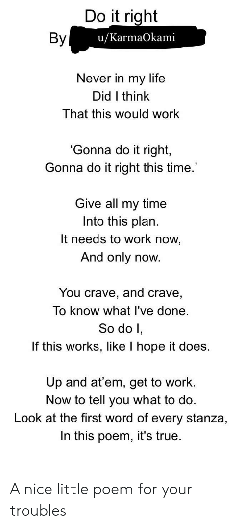 Life, True, and Work: Do it right  By  u/KarmaOkami  Never in my life  Did I think  That this would work  'Gonna do it right,  Gonna do it right this time.  Give all my time  Into this plan.  It needs to work now,  And only now.  You crave, and crave,  To know what I've done.  So do I,  If this works, like I hope it does  Up and at'em, get to work.  Now to tell you what to do.  Look at the first word of every stanza,  In this poem, it's true. A nice little poem for your troubles