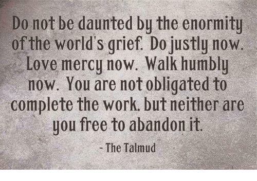 Memes, Oblige, and Humble: Do not be daunted by the enormity  of the world's grief. Do justly now  Love mercy now. Walk humbly  now. You are not obligated to  complete the work, but neither are  you free to abandon it.  The Talmud