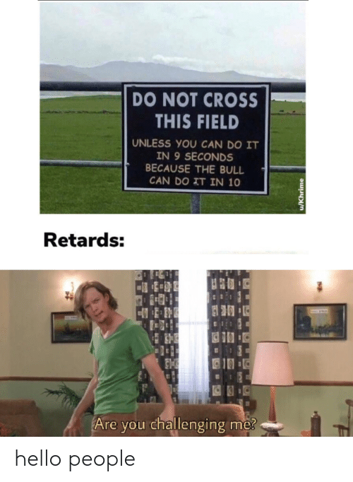 Hello, Cross, and Can: DO NOT CROSS  THIS FIELD  UNLESS YOU CAN DO IT  IN 9 SECONDS  BECAUSE THE BULL  CAN DO IT IN 10  Retards:  Are you challenging me?  u/Khrime hello people