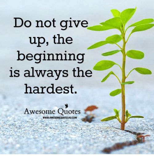 Do Not Give Up The Beginning Is Always The Hardest Awesome Quotes
