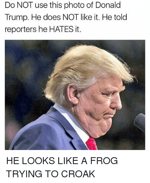 Memes, 🤖, and Frog: Do NOT use this photo of Donald  Trump. He does NOT like it. He told  reporters he HATES it. HE LOOKS LIKE A FROG TRYING TO CROAK