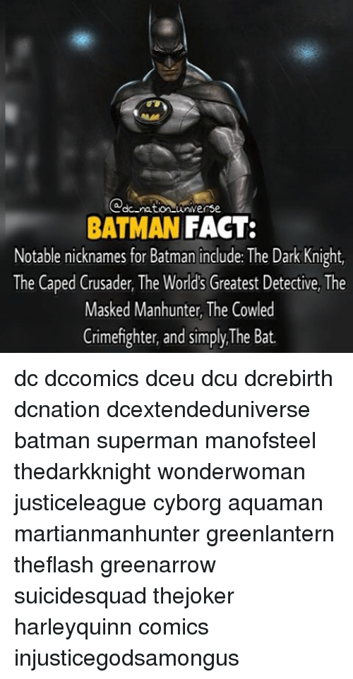 Memes, The Mask, and The Dark Knight: do ration universe.  BATMAN  FACT:  Notable nicknames for Batman include: The Dark Knight,  The Caped Crusader, The World's Greatest Detective, The  Masked Manhunter, The Cowled  Crimefighter, and simply, The Bat. dc dccomics dceu dcu dcrebirth dcnation dcextendeduniverse batman superman manofsteel thedarkknight wonderwoman justiceleague cyborg aquaman martianmanhunter greenlantern theflash greenarrow suicidesquad thejoker harleyquinn comics injusticegodsamongus