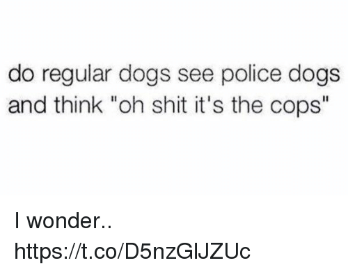 "Dogs, Funny, and Police: do regular dogs see police dogs  and think ""oh shit it's the cops"" I wonder.. https://t.co/D5nzGlJZUc"