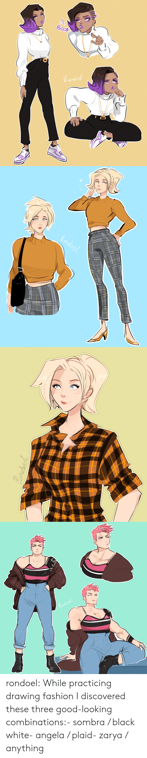 Fashion, Tumblr, and Black: do rondoel:  While practicing drawing fashion I discovered these three good-looking combinations:- sombra / black  white- angela / plaid- zarya / anything