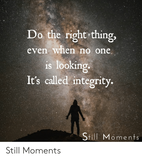 Memes, Integrity, and Do the Right Thing: Do the right thing,  even when no one  is looking.  It's called integrity.  Still Moments Still Moments