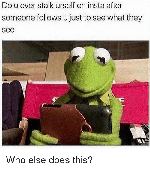 Memes, 🤖, and Who: Do u ever stalk urself on insta after  someone follows u just to see what they  see Who else does this?