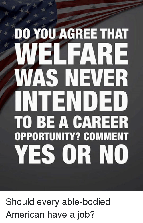 Memes, American, and Opportunity: DO YOU AGREE THAT  WELFARE  WAS NEVER  INTENDED  TO BE A CAREEP  OPPORTUNITY? COMMENT  YES OR NO Should every able-bodied American have a job?