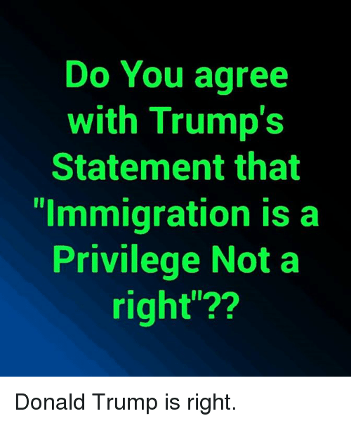 """Donald Trump, Memes, and Immigration: Do You agree  with Trump's  Statement that  """"Immigration is a  Privilege Not a  right""""?? Donald Trump is right."""
