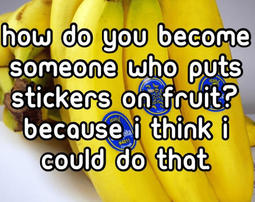 Dank, 🤖, and How: do you become  how  0  SOmeone who QUtS  0  stickers on fruit?  because i think i  could do that  COU  0