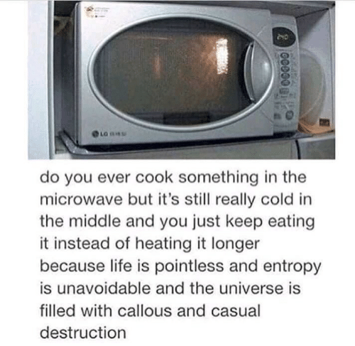 Life, The Middle, and Cold: do you ever cook something in the  microwave but it's still really cold in  the middle and you just keep eating  it instead of heating it longer  because life is pointless and entropy  is unavoidable and the universe is  filled with callous and casual  destruction