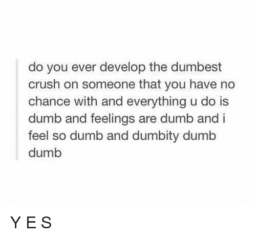 Crush, Dumb, and Memes: do you ever develop the dumbest  crush on someone that you have no  chance with and everything u do is  dumb and feelings are dumb and i  feel so dumb and dumbity dumb  dumb Y E S